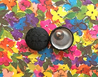 Black Button Earrings / Fabric Covered / Upcycled Materials / Small Gifts for Women / Wholesale Jewelry / Handmade in NYC / Stud Earrings