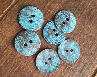 6 Mykonos Textured Button, green patina, 16mm Greek casting beads metal round buttons
