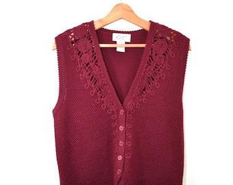 Vintage Cranberry Sweater Vest Burgundy Sweater Vest 80s Sweater Vest Koret Sweater Women's Sweater