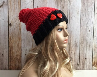 Super Chunky Scarlet and black knitted slouchy women hat beanie, valentines day gift or for you