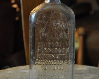 1930's Art Deco Glass  Bottle of O'Cedar Polish for Furniture and Automobiles