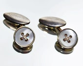 Gold Coloured Gilt & Mother of Pearl Cross Design Vintage Cuff Links (c1930s) - Wedding