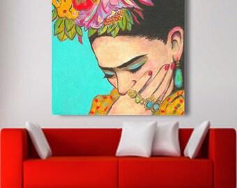 Frida Kahlo, Print, 30% Off, canvas, Frida Kahlo Print, Frida Kahlo Painting, Mexican Folk art, Frida Kahlo Poster,    Wall Art