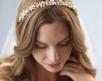 Gold Bridal Headband, Floral Wedding Headband, Freshwater Pearl Headband, Rhinestone Headband, Bridal Headpiece, Hair Accessory ~TI-3242-G