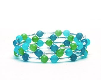 Teal Blue, Turquoise and Lime Green Memory Wire Bracelet - Hand Dipped Czech Glass Beaded Bracelet