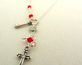 Silver Cross Key Charm Red Crystal Bead lariat Handmade Necklace Pendant Christian Jewelry