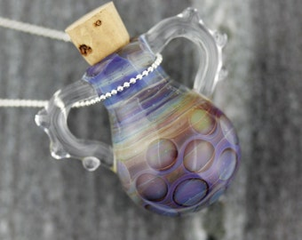 Blown Glass Mini Bottle Necklace Multi Colored  With Natural Cork Stopper