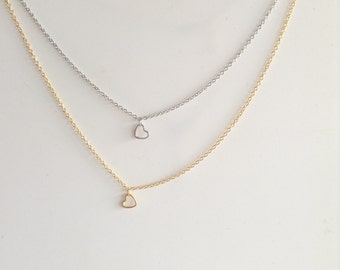 Tiny heart necklace, Gold heart necklace, delicate necklace, dainty minimalist jewelry, everyday layering necklace