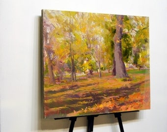 Canvas wall art, oil painting landscape, autumn painting, modern landscape art, city park painting, tree painting, fall painting nature art