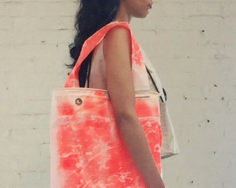 Handmade Upcycle Sail Cloth Tote Bag Using Orange Painted Recycled Waterproof Kevlar Sail
