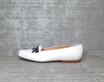 Vtg Maud Frizon B&W Leather Logo Loafers Flats Shoes