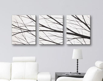 "SALE Wall Art Canvas Art Tree Painting Black and White Paintings Wall Decor Wall Hangings Home Decor Modern Art Set of 3 Canvases 48""x20"""