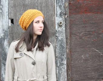 Women's Slouchy Hat . Bright Crochet Textured Hat  {  Marigold Orange  }