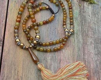 Beautiful agate gemstone mala necklace