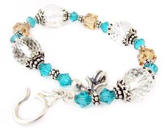 Crystal Bracelet, Topaz Bracelet, Teal Bracelet, Sparkling Bracelet, Sterling Bracelet, Glass Bracelet, Gift for Her, Toggle Bracelet