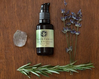Calm & Replenish Organic Facial Oil Serum, Nutrient-Rich Soothing Hydration for Sensitive and Sensitized Skin by Earthtonics Skin Care