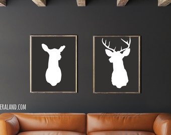 Mounted Deer Head 11x14 or 8x10 Silhouette Doe and Buck Stag Antlers Digital Art Print Modern Home Decor Affordable Wall Art Wedding Gift