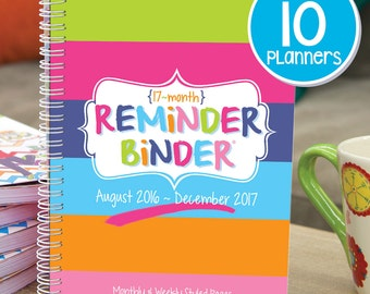 Calendar Planner [Set of 10] 2016-2017 Reminder Binder® w/ weekly, monthly views, tabs, 312 stickers, lists +more. College gals love this!