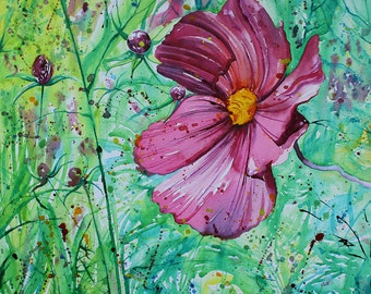 Original canvas painting of flowers, pink floral art, flower painting of Cosmos, Cornish flowerbed, ink painting, painting on canvas