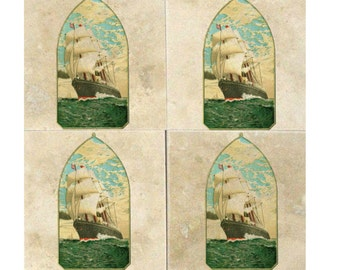 Beautiful Vintage Ship Coasters (Pair of 2 Available) Nautical, Ships, Sailing, Drink Coasters, Gift Ideas