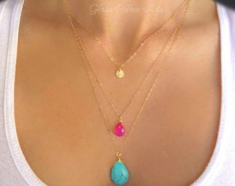 Turquoise And Hot Pink Necklace, Turquoise And Pink Jewelry, Layered Turquoise Necklace, Long Turquoise Necklace, Hot Pink 3 Strand Necklace