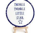 "Twinkle Twinkle Little Star Hoop Art // 5"" Hand Embroidery Hoop // Nursery Decor // Baby Shower Gift // Free Shipping"