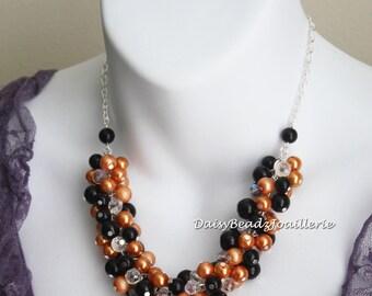 Halloween Necklace, Halloween Jewelry, Orange and Black Necklace for Halloween, Pearl Jewelry, Halloween Chunky Jewelry