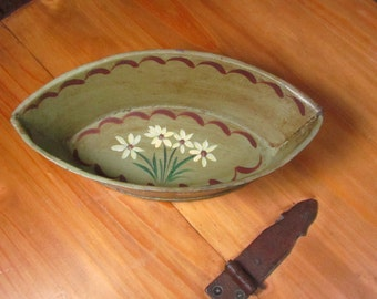 Oval Toleware Tole Painted Metal Container Caddy Vintage Sage Green