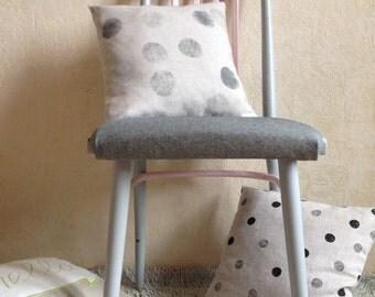 "Block Printed Pillow 16""x16"" - Polka Dot Pillow, Nursery Cushion Cover, Cute Pillows - Minimalist Pillow, Designer Pillow - Dorm Decorations"