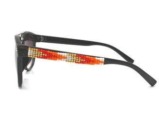 Beaded Sunglasses, Orange Ombre Sunglasses, Brow Bar frames, Retro Sunglasses, Arrows Pattern, Unique Sunnies, Summer Accessories