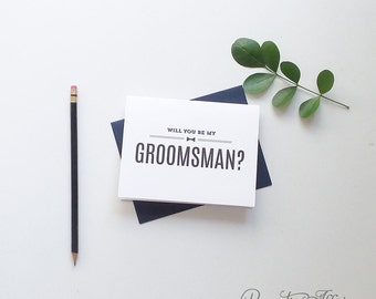 Will You Be My Groomsman Card - Be My Best Man, Ring Bearer, Masculine Cards - Bow Tie - Groomsmen Cards