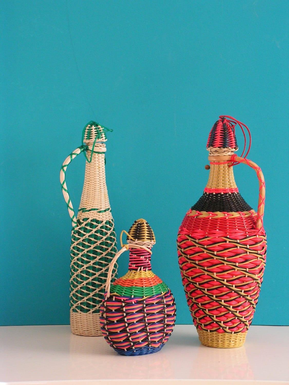 Vintage Set Of Three Multi Color Glass Bottles Vases
