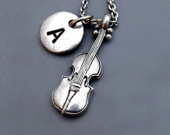 Violin Necklace, string instrument, Music, Violinist, initial necklace, initial hand stamped, personalized, antique silver, monogram