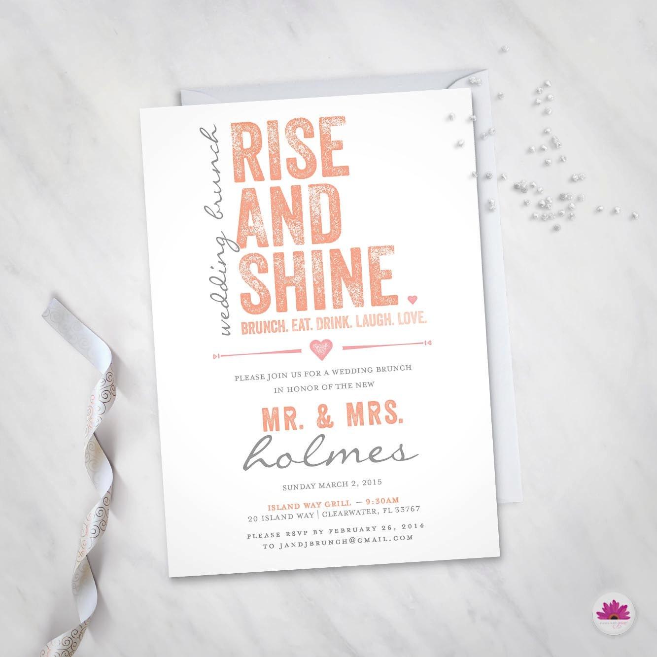 Rise and Shine C Wedding Brunch Invitation (Digital file ...