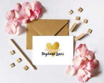 Personalized Note Card, Personalized Stationery, Personalized Stationary, A7 Note Cards, Gold, Hearts, Pink and Gold, Gift, Notecards