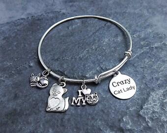 Crazy Cat Lady Gift - Cat lover Charm Bracelet - Expandable Bangle - Crazy Cat Lady Jewelry - Cat Charm Bracelet - Gag Gift for Cat Lover