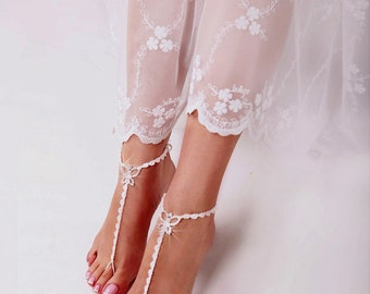 Rhinestone White Barefoot Sandals, Foot jewelry, Bridesmaid accessory, Barefoot sandles, Anklet, Wedding shoes, Beach Wedding, Summer shoes