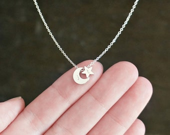 Customized Moon and Star Necklace in Silver // Tiny Personalized Pendants on a Sterling Silver Chain • Dainty Custom Jewelry for Her