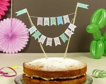 Pastel shades Birthday cake bunting stars, stripes & polka dots Cake topper