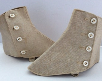 Antique Linen Canvas SHOE SPATS, Mother of Pearl Buttons,  Self Fabric Adjustable Under Shoe Strap and Buckle