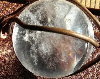 Loving Memories 20mm Quartz Crystal Ball Pendant on Leather  by Cosmic Soul Gems