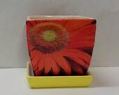 """Handmade Decoupage Square Ceramic Flower Pot-Orange Gerber Daisy-4"""""""