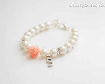 Flower Girl Bracelet, Personalized Bracelet with Peach Flower for Bridesmaid, Monogram Bracelet, Flower Bracelet, Bridesmaid Bracelet, Gifts