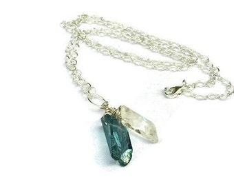 Blue Quartz Necklace, Romantic Boho Blue Necklace, Blue Pendant, Clear Quartz, Mystic Quartz, Crystal Pendant, Something Blue,