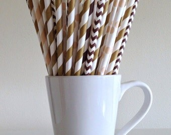Fall Paper Straws Thanksgiving Straws Gold, Brown, and Tan Paper Straws Party Supplies Party Decor Bar Cart Cake Pop Sticks Graduation