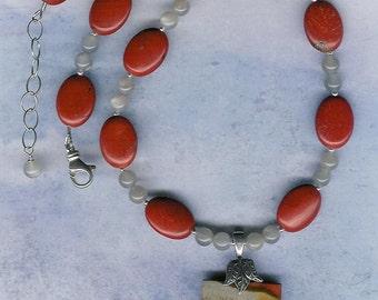 Ring Tones - Succor Creek Jasper, Red Jasper,  Moonstone, Sterling Silver Necklace