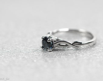14kt White Gold 5.2mm Round Blue Sapphire Solitaire Infinity Engagement Ring