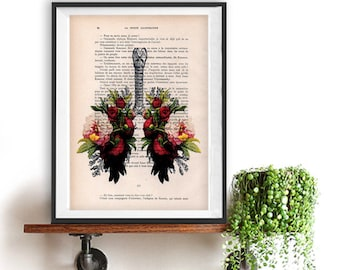 Botanic Peony Lungs Anatomy Print on 1900 vintage floral page, Doctor gift, Anatomy Illustration, human anatomy art, science drawing, love
