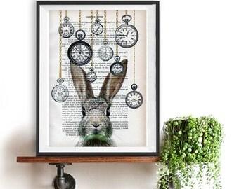 White Rabbit, Alice in Wonderland, Clock Rabbit Print, Rabbit Art ,Bunny Print, Rabbit Art Print,Woodland Rabbit , Nursery Decor,Wall Art