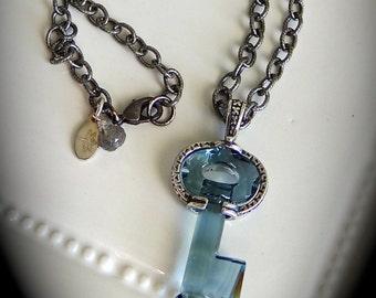 Swarovski Crystal Key & Silver Necklace
